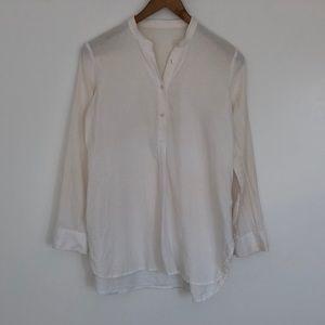 Madewell collarless linen shirt in cream